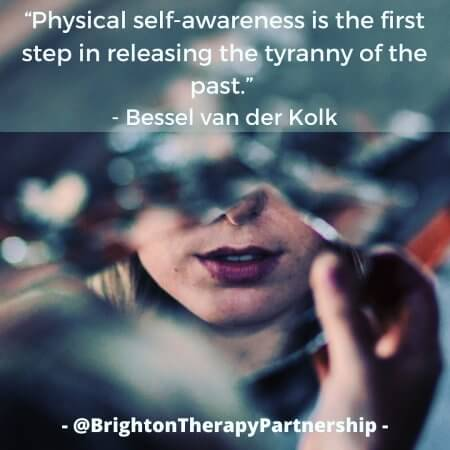 "Image of a reflection of a face in a shard of glass. Quote reads ""Physical self-awareness is the first step in releasing the tyranny of the past."" Bessel van der Kolk relating to polyvagal theory"