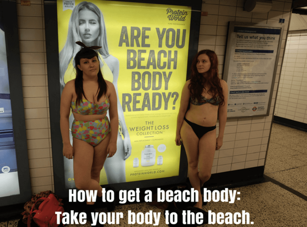 Bloggers Fiona Longmuir and Tara Costello pose in front of Protein World's tube advert in 2015 which was banned for being body shaming and triggering. Eating disorders are not just caused by body image issues but adverts like these have an impact that we can explore in therapy.