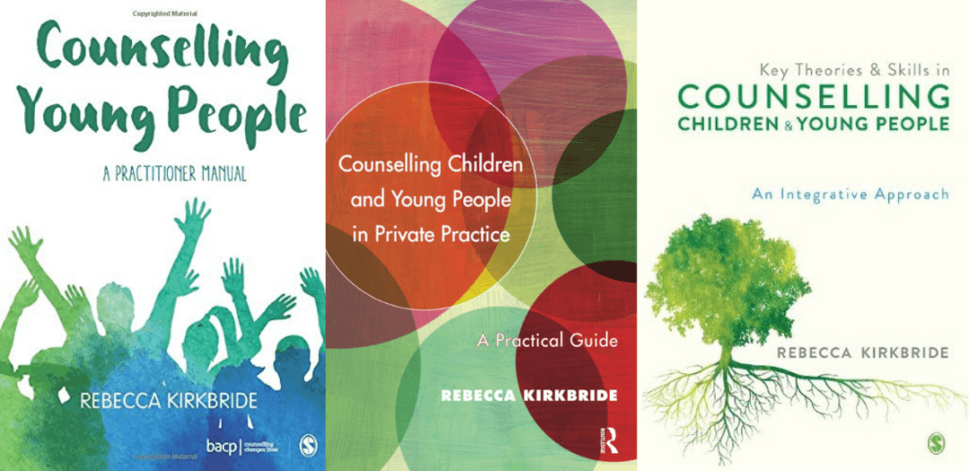 Image of three books by Rebecca Kirkbride on counselling children and young people.