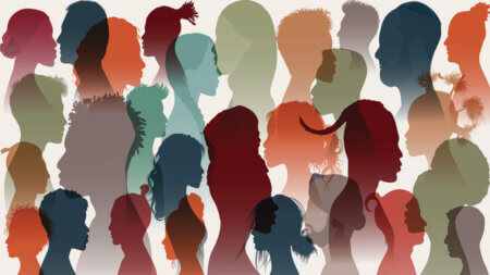 Image of varying face silhouettes. Meg-John Barker will host a training day for therapists on gender, sexual and relationship diversity.